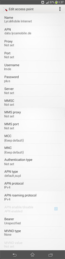LycaMobile Internet APN settings for Android