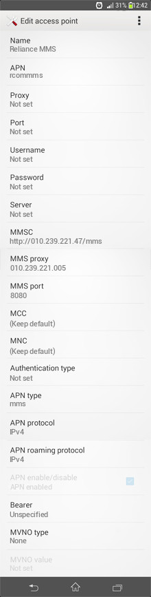 Reliance MMS APN settings for Android