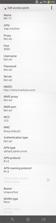 Net 10  APN settings for Android