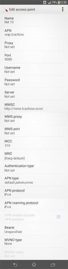 Net 10  APN settings for Android