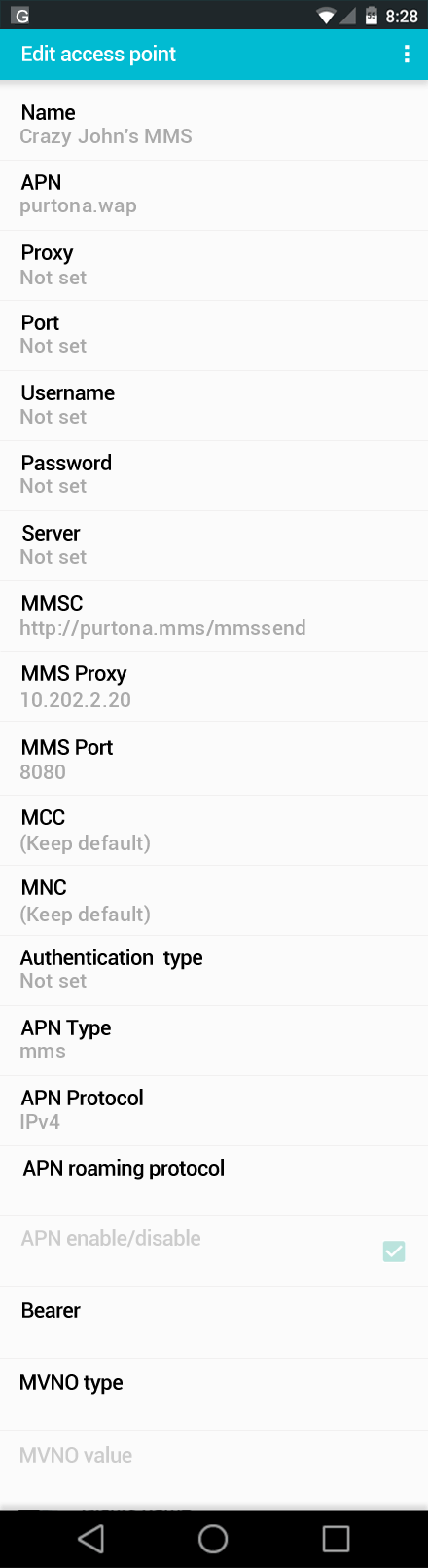 Crazy John's MMS APN settings for Android screenshot