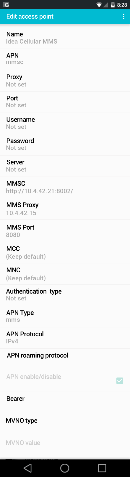 Idea Cellular MMS APN settings for Android screenshot