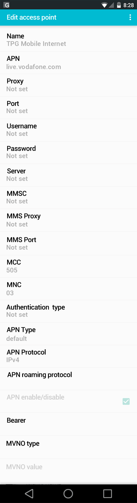 TPG Mobile Internet APN settings for Android screenshot
