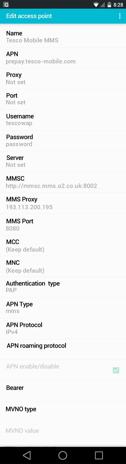 Tesco Mobile MMS APN settings for Android screenshot