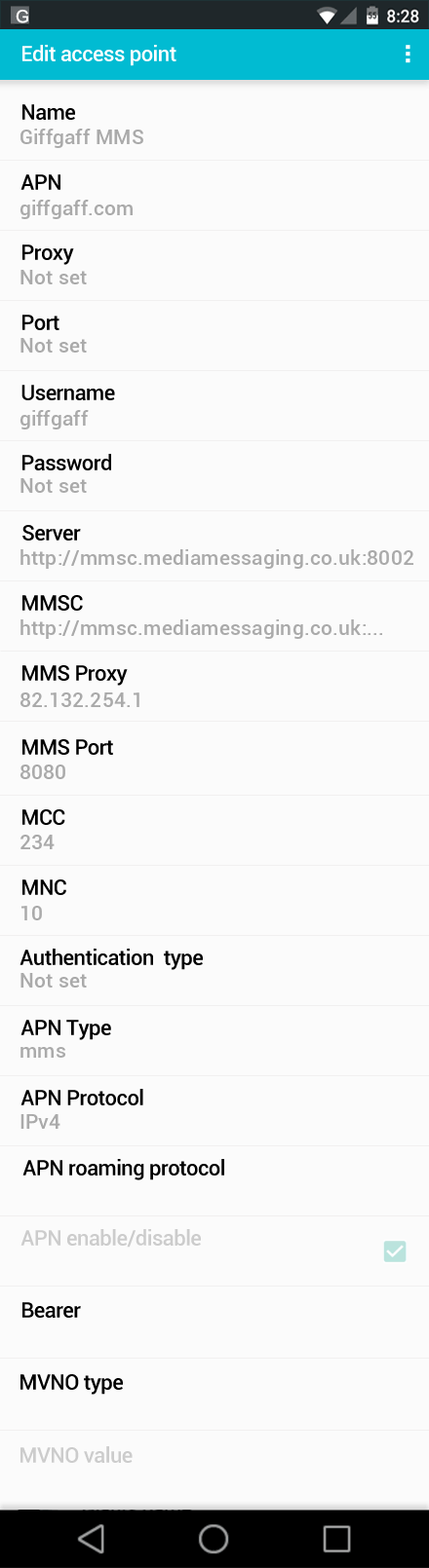 Giffgaff MMS APN settings for Android screenshot