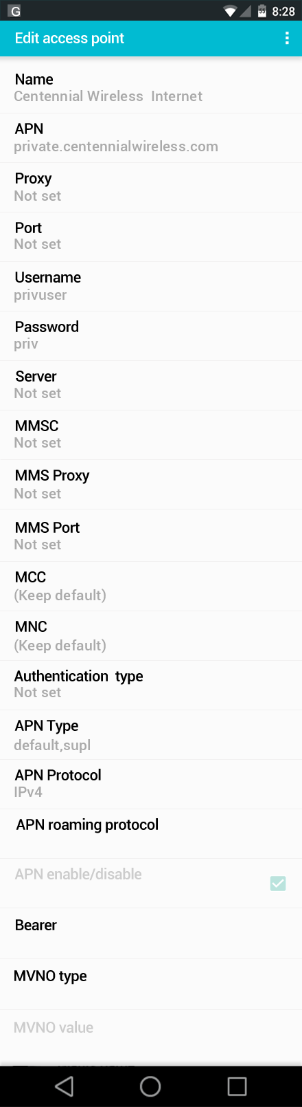Centennial Wireless  Internet APN settings for Android screenshot