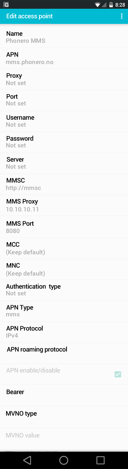 Phonero MMS APN settings for Android screenshot