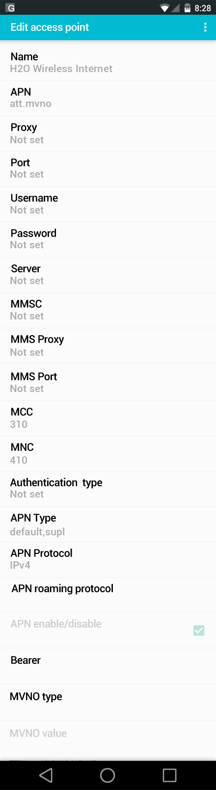 H2O Wireless Internet APN settings for Android screenshot