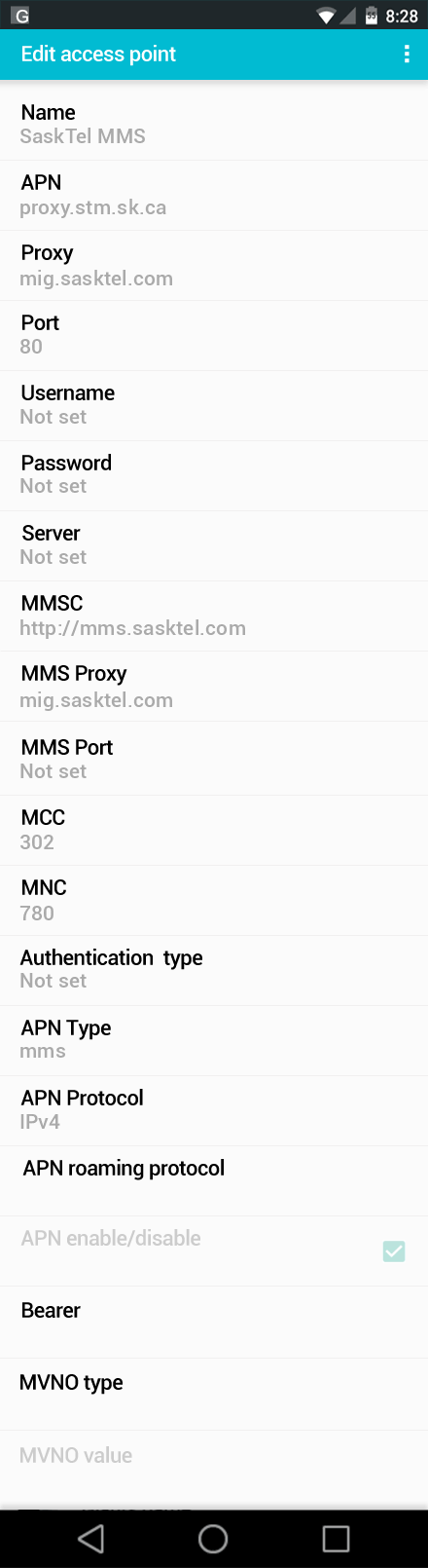 SaskTel MMS APN settings for Android screenshot