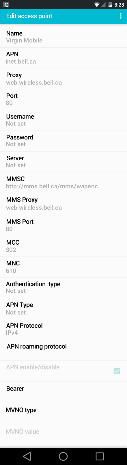 Virgin Mobile  APN settings for Android screenshot