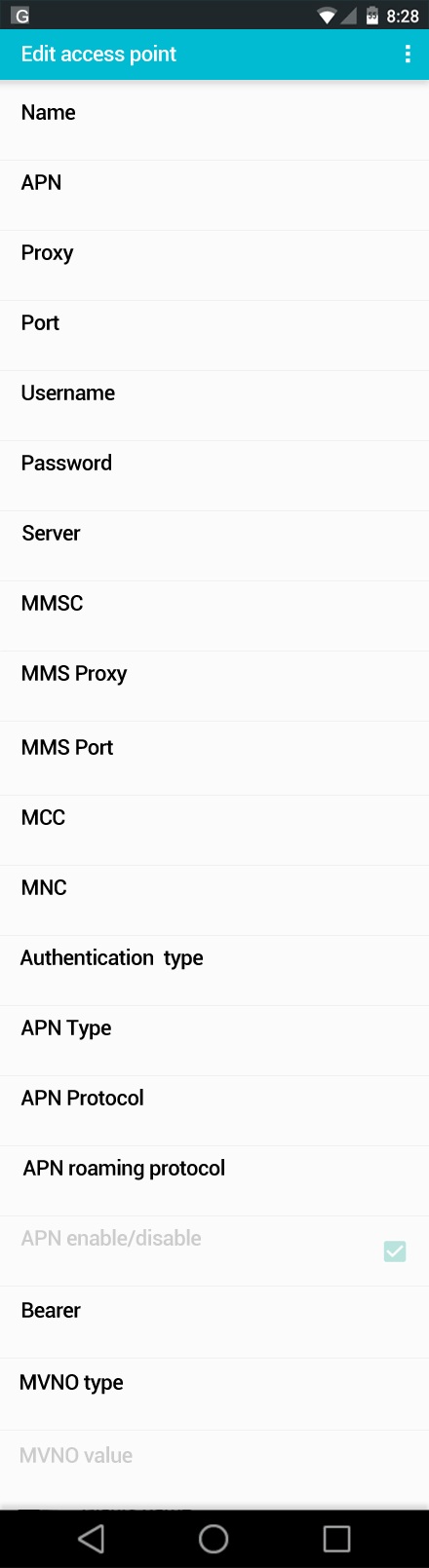Virgin Mobile MMS APN settings for Android screenshot