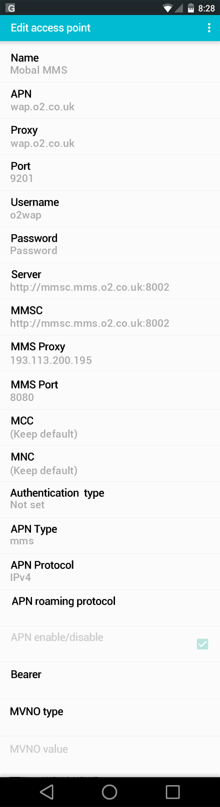 Mobal MMS APN settings for Android screenshot