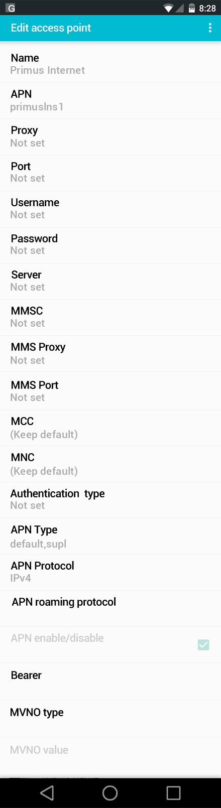Primus Internet APN settings for Android screenshot