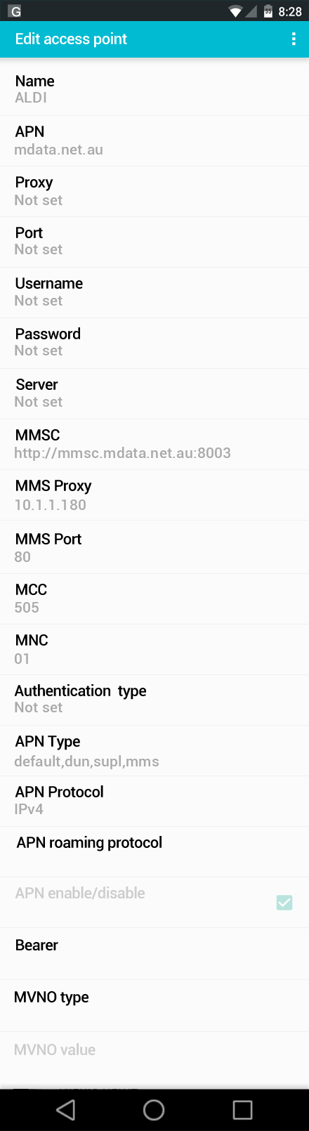 ALDI  APN settings for Android screenshot