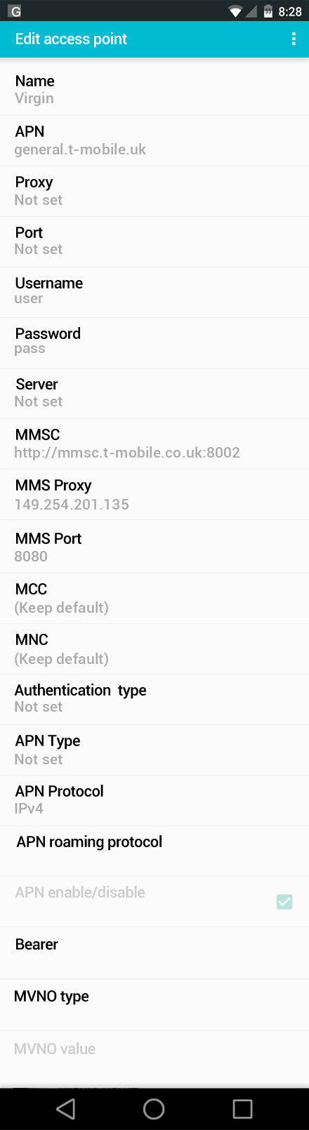 Virgin  APN settings for Android screenshot