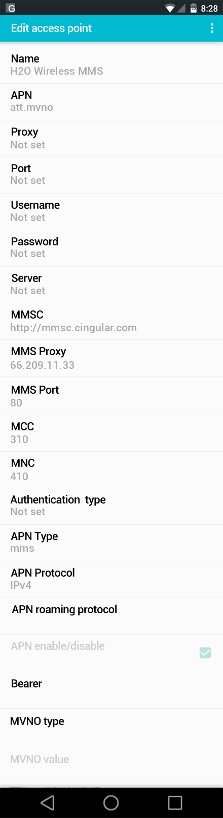H2O Wireless MMS APN settings for Android screenshot