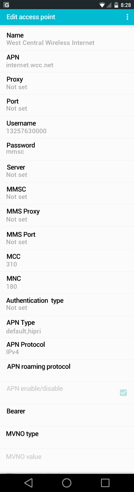 West Central Wireless Internet APN settings for Android screenshot