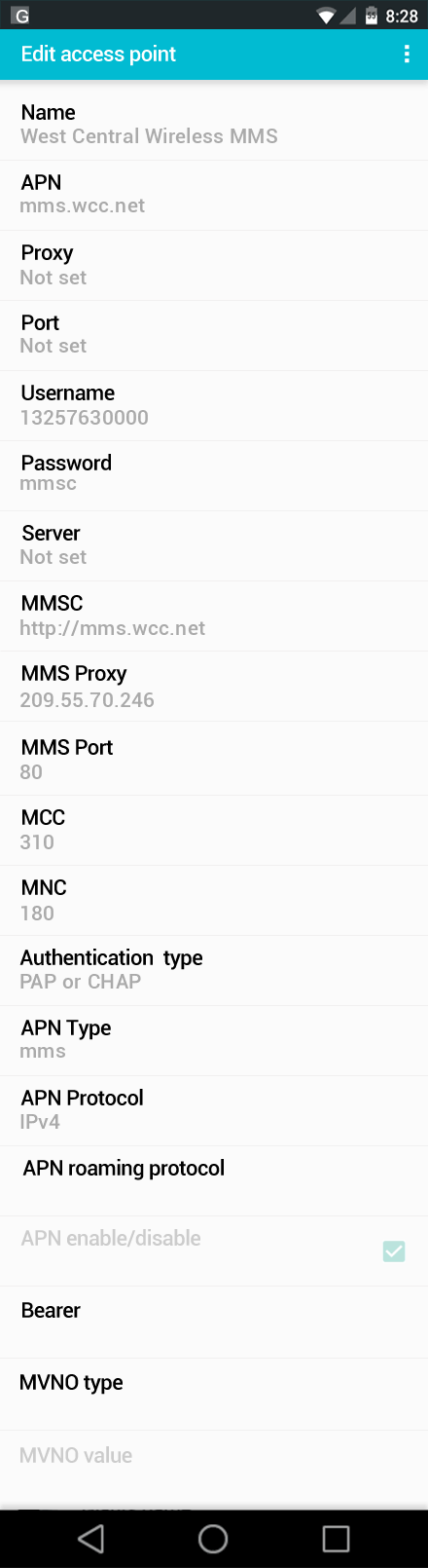 West Central Wireless MMS APN settings for Android screenshot