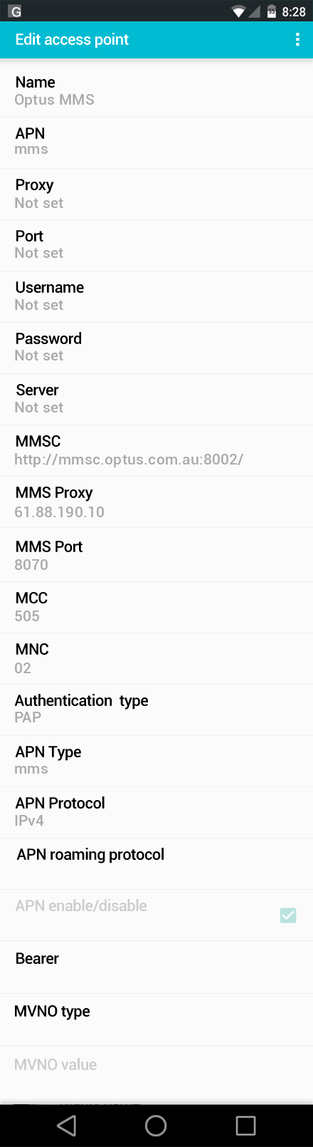 Optus MMS APN settings for Android screenshot