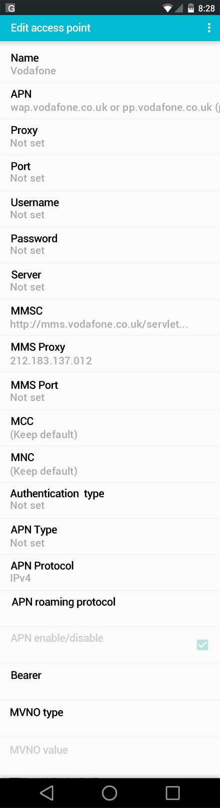 Vodafone  APN settings for Android screenshot