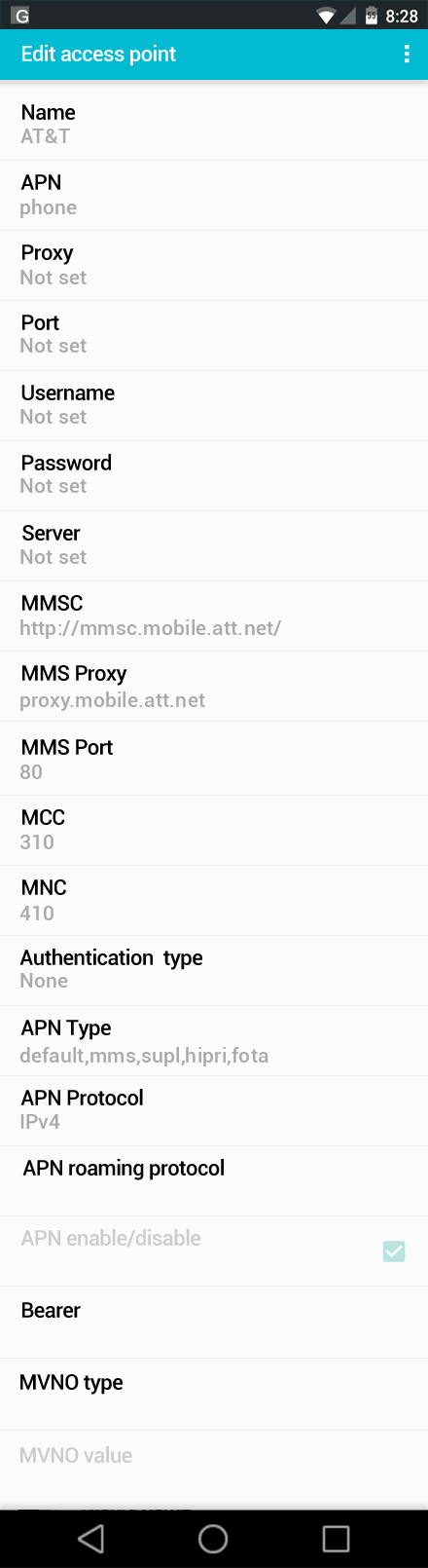 AT&T  APN settings for Android screenshot