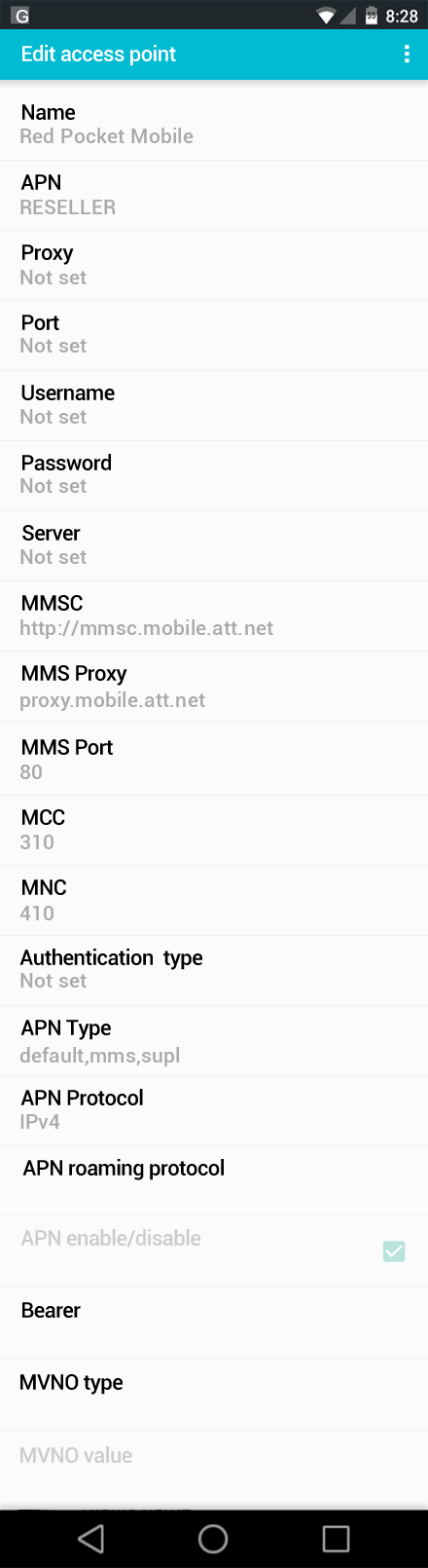 Red Pocket Mobile  APN settings for Android screenshot