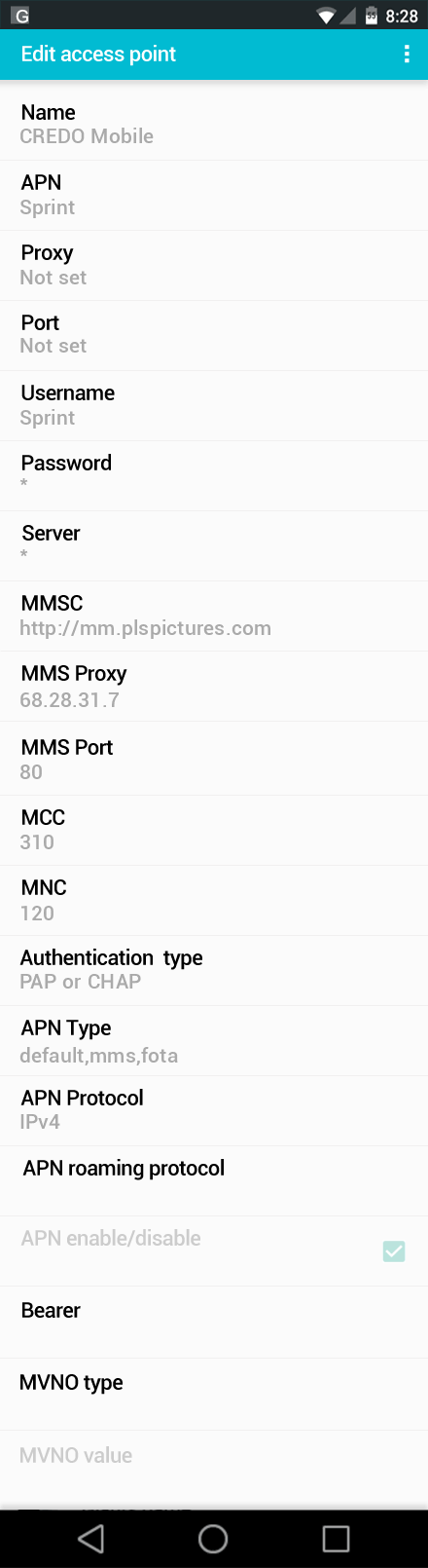 CREDO Mobile  APN settings for Android screenshot