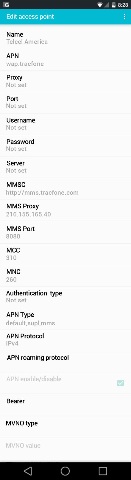 Telcel America  APN settings for Android screenshot