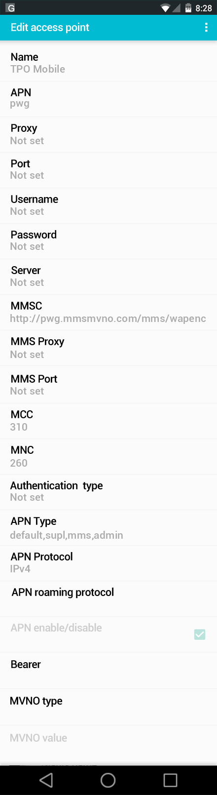 TPO Mobile  APN settings for Android screenshot