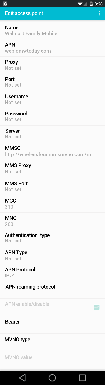Walmart Family Mobile  APN settings for Android screenshot