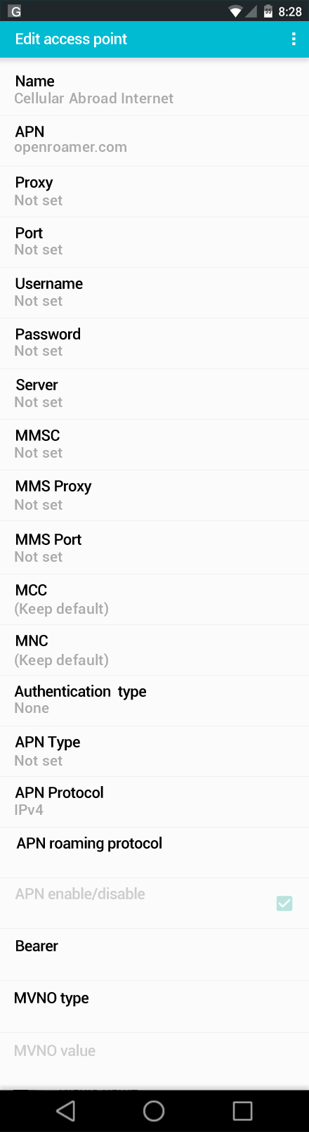 Cellular Abroad Internet APN settings for Android screenshot
