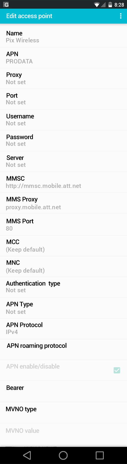 Pix Wireless  APN settings for Android screenshot