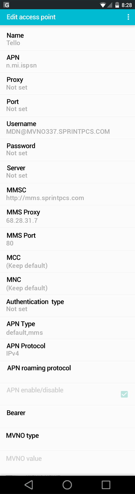 Tello  APN settings for Android screenshot