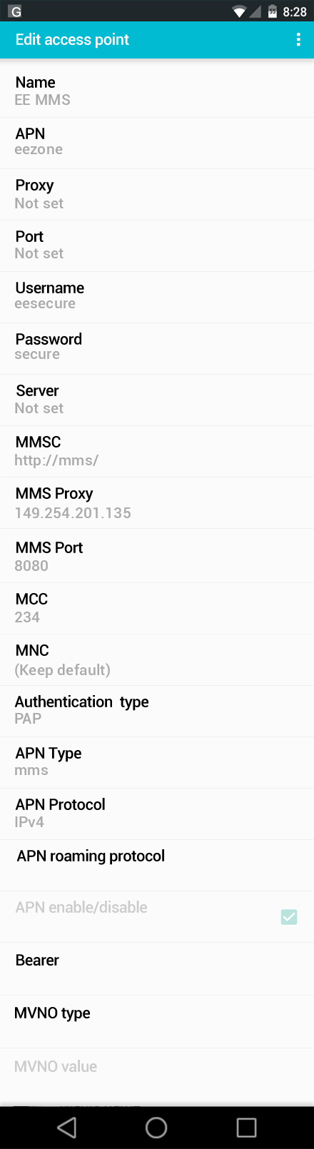 EE MMS APN settings for Android screenshot