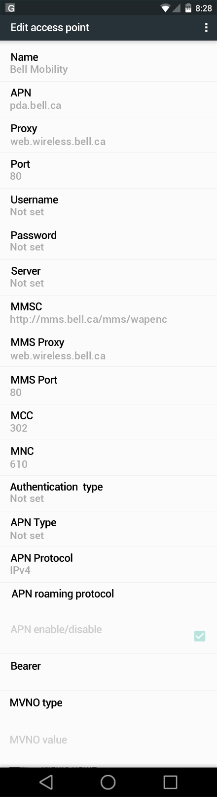 Bell Mobility  APN settings for Android Marshmallow screenshot