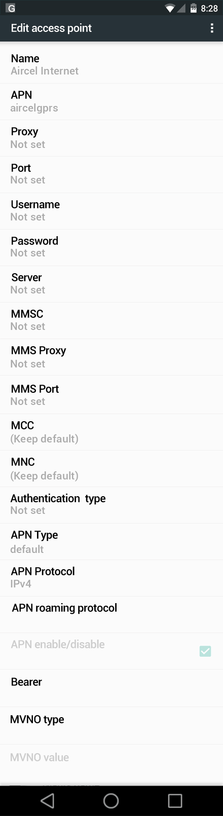 Aircel Internet APN settings for Android Marshmallow screenshot