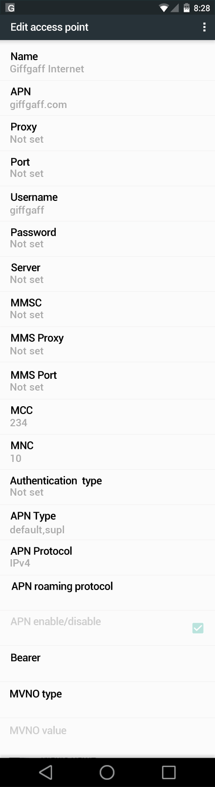 Giffgaff Internet APN settings for Android Marshmallow screenshot