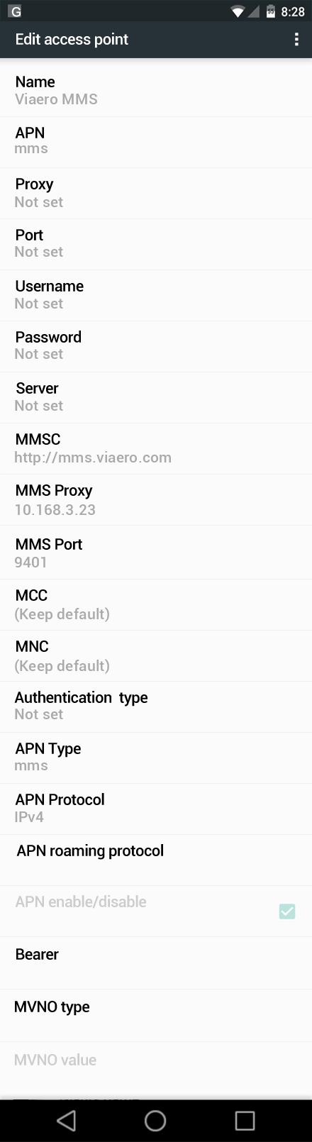 Viaero MMS APN settings for Android Marshmallow screenshot