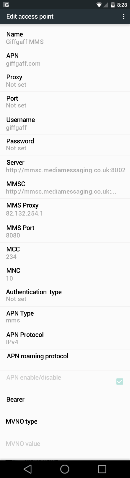 Giffgaff MMS APN settings for Android Nougat screenshot