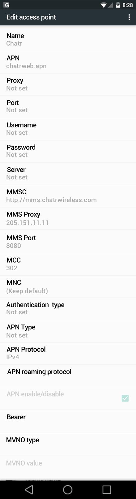 Chatr  APN settings for Android Marshmallow screenshot