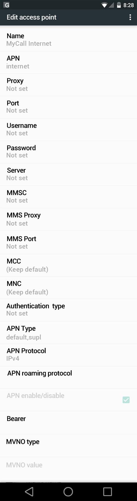 MyCall Internet APN settings for Android Nougat screenshot