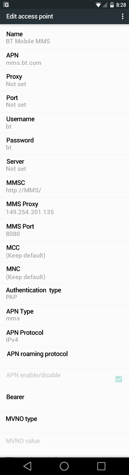 BT Mobile MMS APN settings for Android Marshmallow screenshot