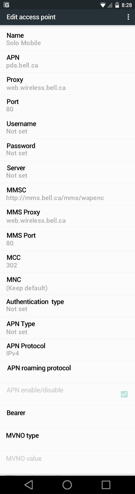 Solo Mobile  APN settings for Android Marshmallow screenshot