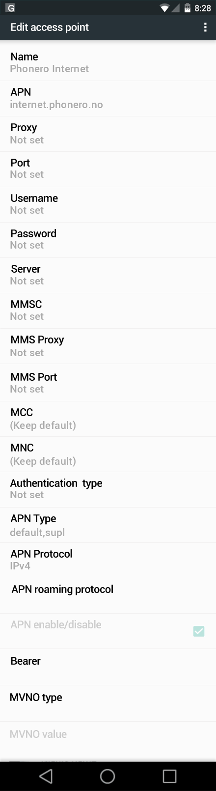 Phonero Internet APN settings for Android Marshmallow screenshot