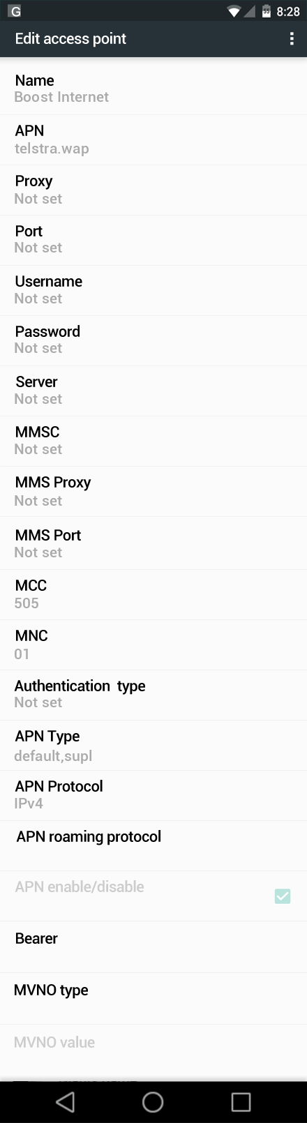 Boost Internet APN settings for Android Marshmallow screenshot
