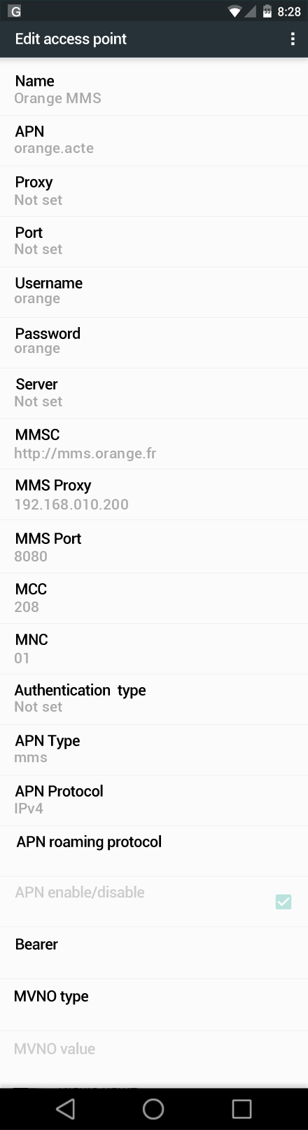 Orange MMS APN settings for Android Nougat screenshot