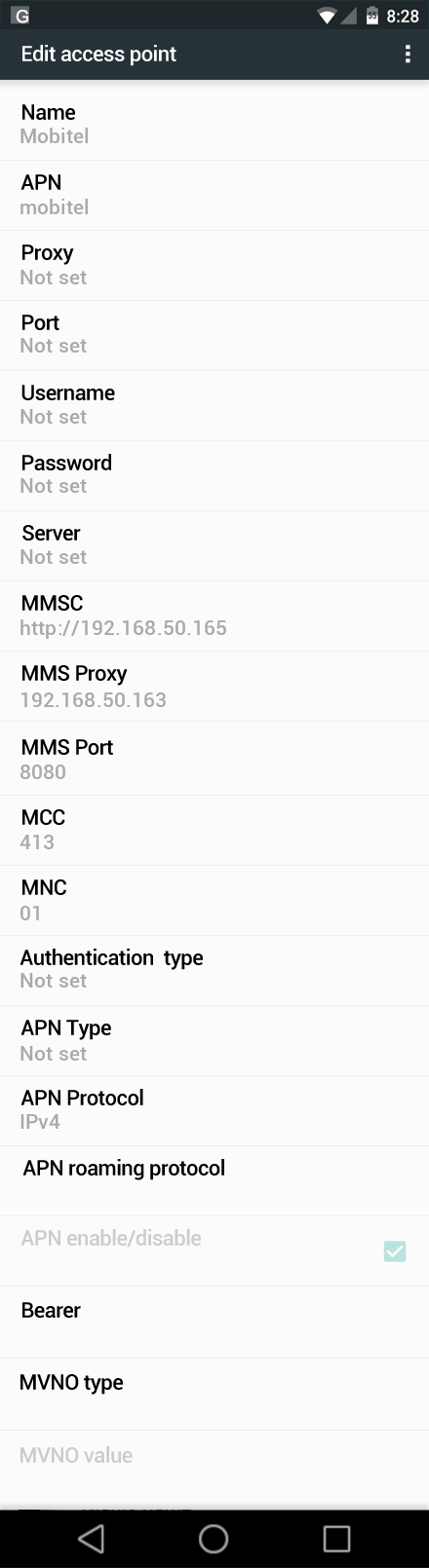 Mobitel  APN settings for Android Marshmallow screenshot