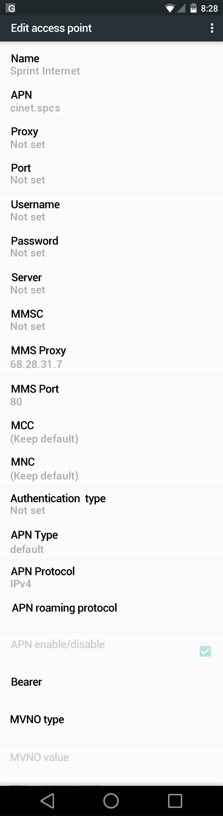 Sprint Internet APN settings for Android Marshmallow screenshot