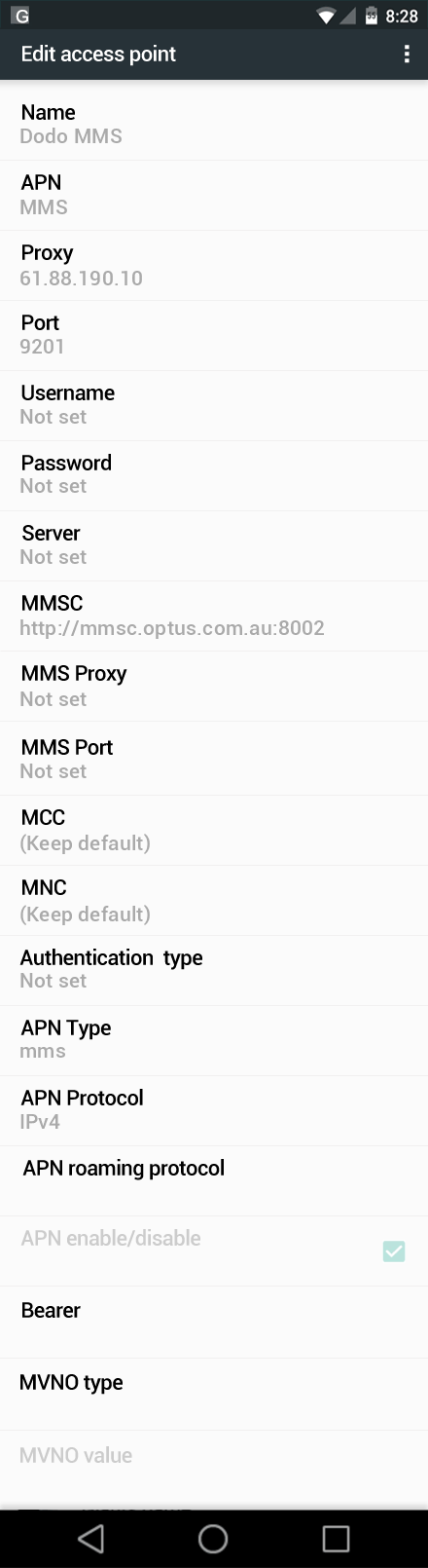 Dodo MMS APN settings for Android Marshmallow screenshot