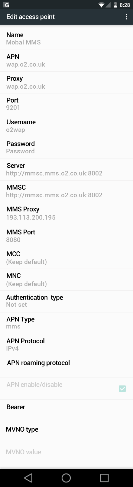 Mobal MMS APN settings for Android Marshmallow screenshot
